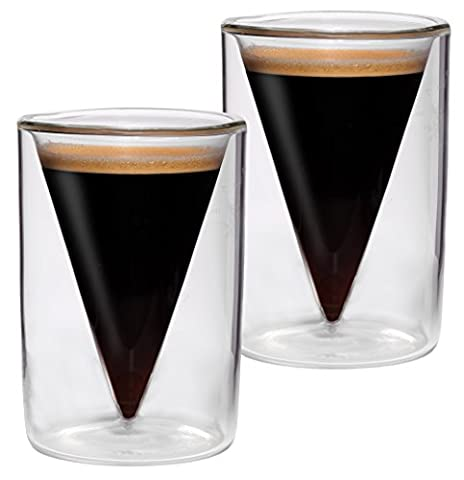 Set of 2 70 ml Double-Walled Espresso Shot Glasses in and Spitzglasdesign with floating effect, ideal for Espresso, spirits, liqueurs and Spikey Feelino of Grappa