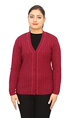 Romano Basic Red 100% Wool Warm Winter Sweater Cardigan For Women