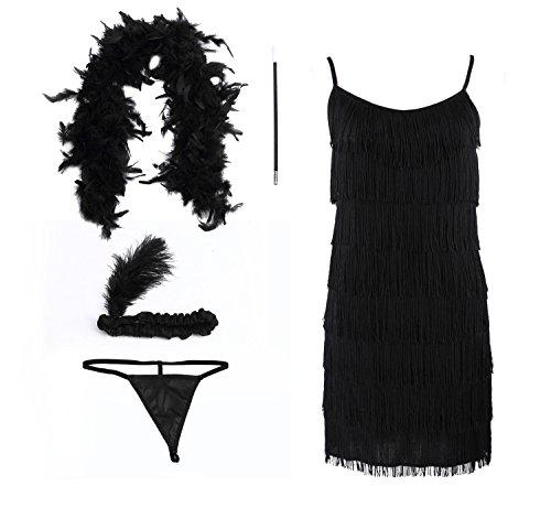 Damen Fringe Flapper Erotische Schwarze 20er Jahre Charleston Kostüm Kleid mit Stirnband Feder Boa Zigarettenspitze G-String Größe: M