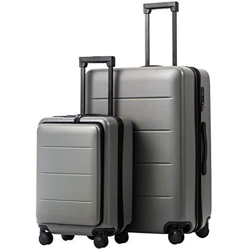 COOLIFE Business-Trolley Reisekoffer Vergrößerbares Gepäck (Nur Großer Koffer Erweiterbar) ABS+PC Material mit TSA-Schloss und 4 Stumm schalten Rollen (Titanlegierung Grau, 2-teiliges Set(S/L))