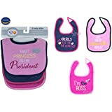 Cotton Bibs For Baby Girl Set Of 3 By Wishkey | Multicolor Printed Velcro Feeding Bibs For 6 Months To 2 Years Kids | Soft And Comfortable Material Machine Washable Easy To Clean Bibs For New Born Infants And Toddlers