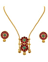 JFL - Traditional Ethnic One Gram Gold Plated Pink & Green Stone Floral Designer Necklace Set With Earring For...