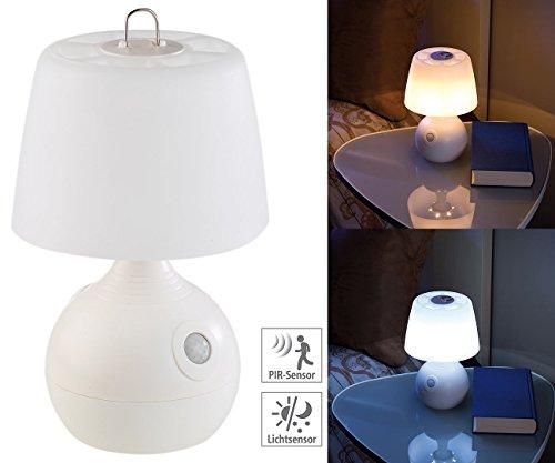 Lunartec Tischlampe mit Batterie: LED-Tischlampe, PIR- & Licht-Sensor, warmweiß & tageslichtweiß, 30 lm (Tischlampe mit Bewegungsmelder)