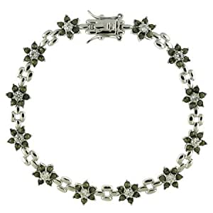 Sterling Silber Markasit & Zirkonia Blumen Tennis Armband