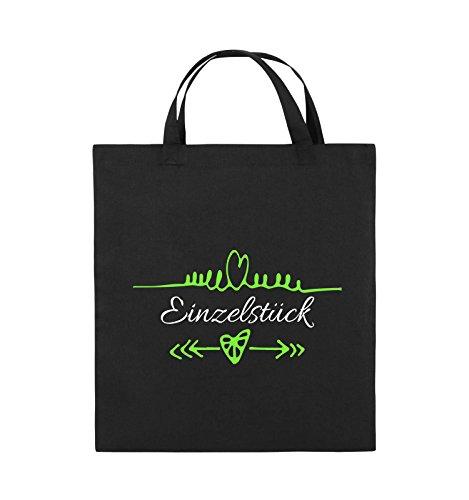 Comedy Bags - Einzelstück - HERZ PFEILE - Jutebeutel - kurze Henkel - 38x42cm - Farbe: Schwarz / Weiss-Neongrün (Bier-pfeil)