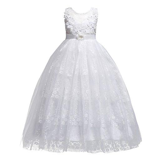 OBEEII Mädchen Kinder Blume Stickerei Spitze Hochzeit Brautjungfer Prinzessin Kleid 15-16 Jahre -