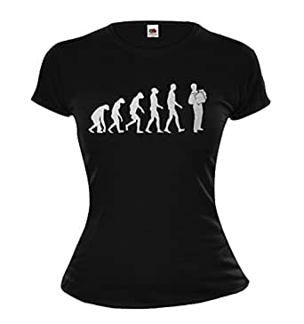 Girlie T-Shirt The Evolution of accordion-XS-Black-Silver