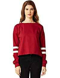 Miss Chase Women's Navy Blue Hooded Boxy Crop Sweatshirt