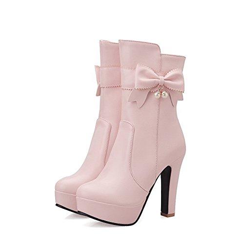AgooLar Damen Pu Leder Rund Schließen Zehe Hoher Absatz Reißverschluss Stiefel Pink