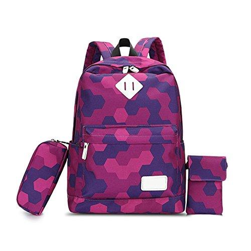Purebesi Schulrucksack (3 Stück), Schultasche für Mädchen, Canvas Laptop-Rucksack Bookbag-Geldbörse für Gymnasiasten