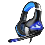 Gaming Headset für PS4 Xbox One PC, SAWAKE Kopfhörer Headset mit Mikrofon, USB-LED-Licht Bass Surround, Aluminiumgehäuse für Computer Laptop Mac Nintendo Switch Spiele mit 3,5mm Adapterkabel (Blau)