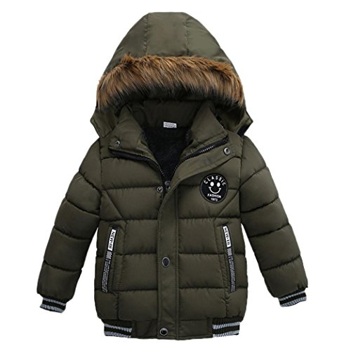 SHOBDW Boys Coats, Boys Girls Fashion Thick Hooded Padded Winter Warm Coat Jacket Kids Clothes