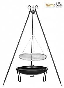 Dreibein Grill VIKING Höhe 180cm + Grillrost aus Edelstahl Durchmesser 70cm + Feuerschale Pan39 Durchmesser 80cm