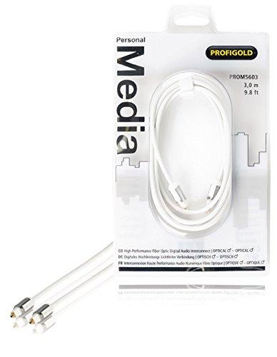 Profigold High Performance digitales Lichtleiter-Kabel optischer Stecker auf optischer Stecker (3m) weiß