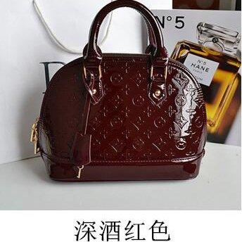 AoBao Ms. pacchetti di trasporto nuovo pacchetto femmina cuoio verniciato lady borsa pacchetto conchiglia piccola borsa donna borse a tracolla (medie :22cm26cm13cm), mini bare di polvere di metallo In un profondo rosso vino