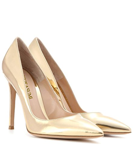 EDEFS Femmes Artisan Fashion Escarpins Unis Classiques Lady Travail Bureau Pointus Des Couleurs Chaussures à talon haut de 100mm Doré-P