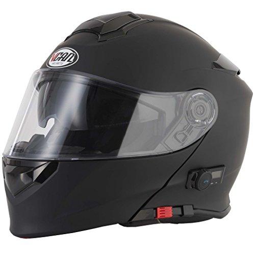 VCAN V271Flip vorne Bluetooth Motorrad Crash Helm mit Drop Down interne Sonnenblende + NIGHTINGALES Pflege-Set - schwarz - xl