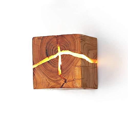 FDA3H Kreative Wandleuchte Nachtlicht Warmweiß 8 * 8 * 8cm Holz Wandleuchte LED Nachttischlampe Innenflur Leuchte Dekorative Direktbeleuchtung für Flur Lampe Balkon Bar Lampe - Lautsprecher Hängen