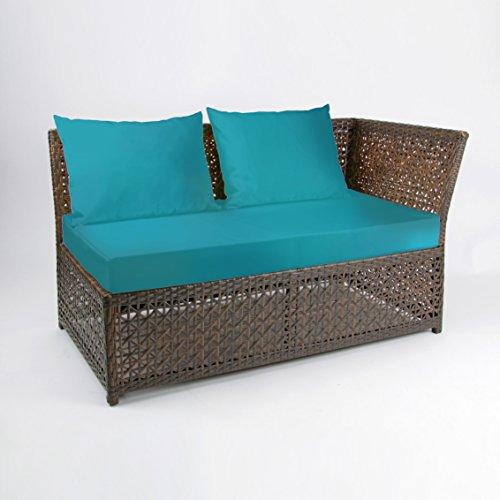 Rattan4Life 4-teilig Florenz Deluxe Polyrattan Gartenmöbel Set, Sofa / Lounge / Gartengarnitur / Kissenbezug, braun / mix / türkis - 4