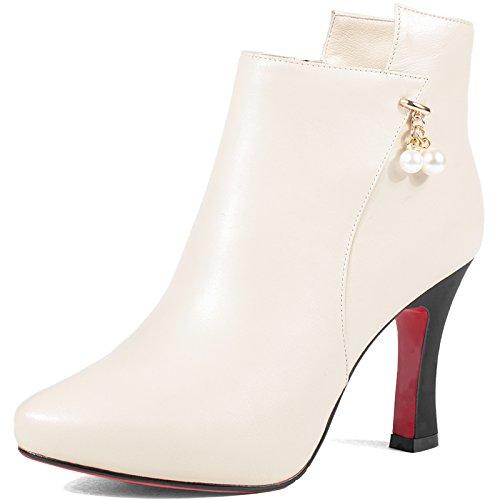 GTVERNH-l'autunno e l'inverno bene evidenziato in maniche corte pearl a piattaforma degli stivali col tacco alto la donna gli stivali Rice Beige