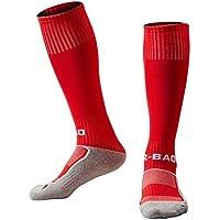 Rong-Bao Calcetines de Entrenamiento de Fútbol para Niños de 8 a 13 Años, Infantil, Color Rojo, Tamaño Kid Size for 8-13 Year Old