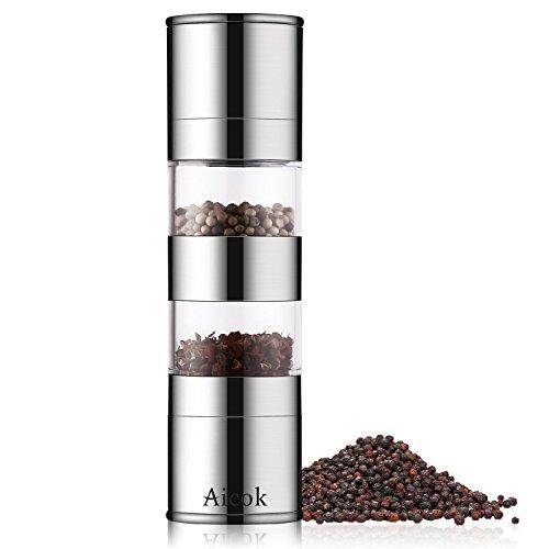 Aicok Mechanische 2-in-1 Salz und Pfeffermühle, Mechanische Salz- und Pfeffermühle aus Edelstahl mit Einstellbarem Keramikmahlwerk, Salz-und Pfefferstreuer mit Sichtfenster