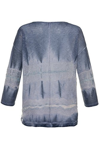 GINA LAURA Damen Langarmshirt Sweatshirt, Peace Herz, Cool Dyed Indigoblau