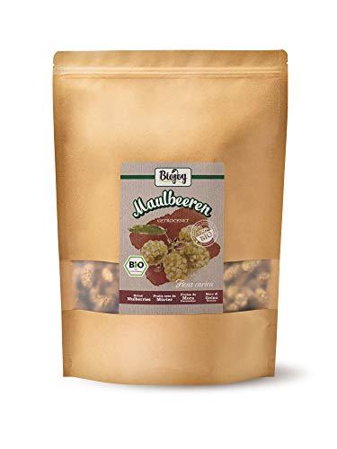 Biojoy getrocknete BIO-Maulbeeren | 100% Natur, ungezuckert & ungeschwefelt | ganze weiße Maulbeeren, schonend getrocknet | Premium-Bio-Qualität (1 kg) -