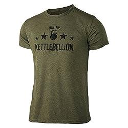 Jumpbox Fitness Join The Kettlebellion Militärisches Grün Herren Kettlebell Triblend Workout T-Shirt, Herren, Military Green, Small