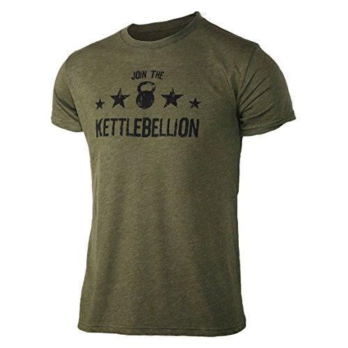 Jumpbox Fitness Join The Kettlebellion Militärisches Grün Herren Kettlebell Triblend Workout T-Shirt, Herren, Military Green, X-Large -
