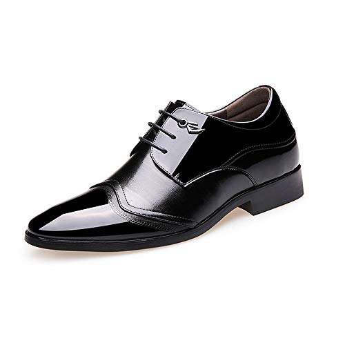 CATEDOT Herren Oxford Unsichtbare Erhöhung Schuhe Mode Business Kleid Herrenschuhe Mikrofaser Leder Schutt-Sohle (Color : Black, Size : 42EU) Feine Oxford