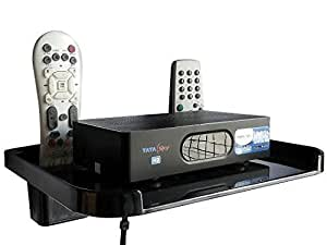Drizzle TV Set Top Box Stand Black With Remote Holder/Wall Mount Shelf For Wifi Stand & Mobile Charging Dock
