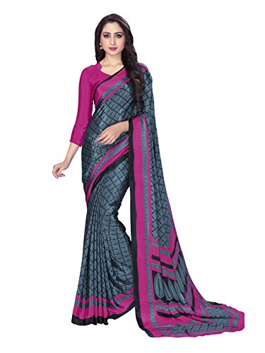 Varayu Women's Crepe Casual Wear Ethnic Printed Saree With Unstitched Blouse(Grey,690SJ503)