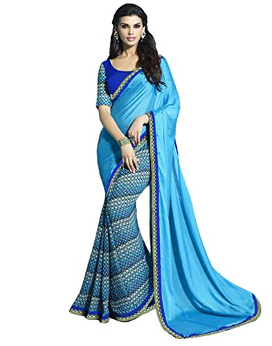 Sarees (Finix Fashion Women's Clothing Saree For Women Latest Design Wear Sarees New Collection in Blue Color Georgette Chiffon Printed Material Latest Fashion Saree With Designer Blouse Free Size Beautiful Bollywood Fashion Style Saree For Women Party Wear Offer Designer Sarees With Blouse Piece)  available at amazon for Rs.699