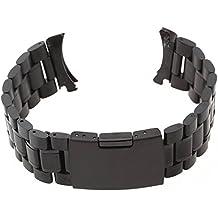 Gleader Cinturino 18CM per Orologio da Polso in Acciaio Nero con Fibbia Ansa 22MM