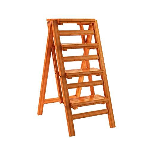 ZEMIN Pliable Tabouret Échelle Escalier Monter Ménage Intérieur 2/3/4-step Épaissir Bois, 3 Tailles (Couleur : Le Jaune, Taille : 42x67x92cm)