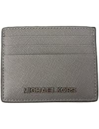 25b5c5b2c3da Michael Kors Jet Set Travel Leather Credit Card Holder Case in Pearl Grey