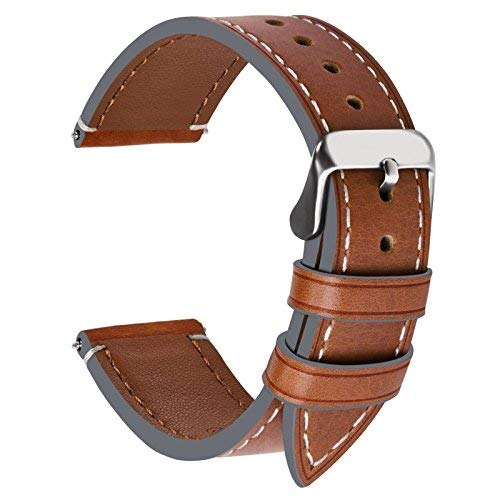 Fullmosa Ersatz Armbänder für Uhr in 6 Farben, Wax Series Echtes Leder Uhrenarmband 16mm/Watch Band für Damen&Herren,Dunkelbraun + Silber Schnalle (Womens Timex Uhrenarmbänder)
