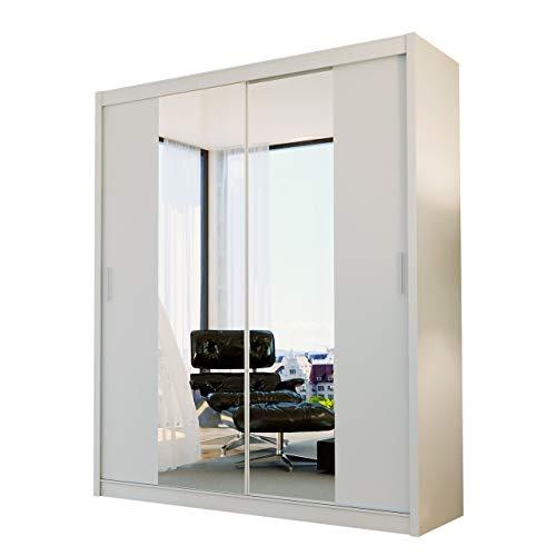 Mirjan24  Kleiderschrank Atma, Schwebetürenschrank mit Spiegel, Elegante Schlafzimmerschrank, Schlafzimmer, Jugendzimmer, Diele und Flur, Schiebetür (Weiß, 180 cm)