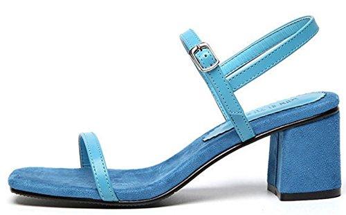HYLM Sandali femminili Summer New Word Fibbia con i sandali delle dita dei piedi Scarpe da ufficio Abito da sposa Dimensione 34-43 Sandali femminili beige Blue