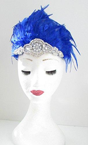 Bleu et argent Bandeau Coiffe Burlesque Plume ANNÉES Showgirl Carnaval Y34 * * * * * * * * exclusivement vendu par – Beauté * * * * * * * *