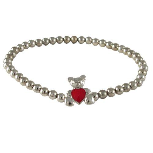 Kleine Schätze - Sterling Silber Ball Stretch Kinder Armaband mit Silber Teddy & Rot Emaille Herz (Rote Stretch-teddy)