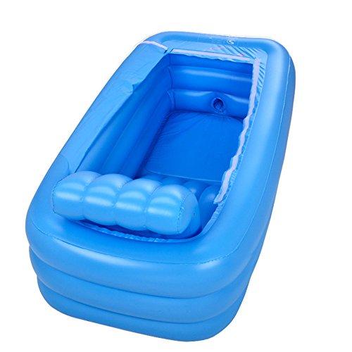DMGF Faltbare Aufblasbare Badewannen-Erwachsene Badekurort-Freie Stehende Badewanne Verdicken Haus Mit Elektrischer Luftpumpe-Rückenlehnebuilt-In S-Stuhl-Blau/Rosa,Blue