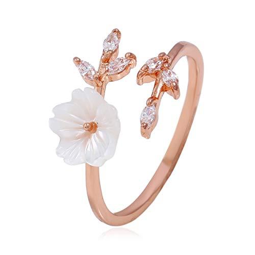 Qiiueen Anillos Mujer, Exquisito Circonio Cristal Hoja Cáscara Corona Damas Y Damas Anillo De Color Oro Rosa