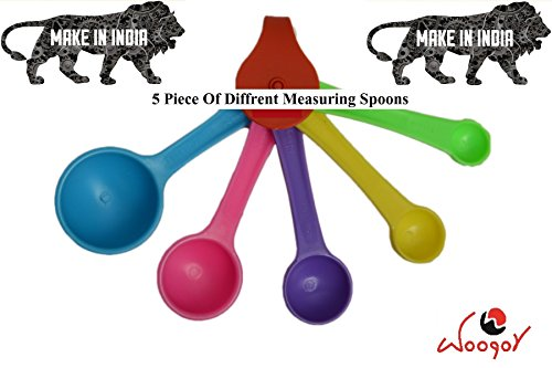 Woogor Branded 5 Pieces Multicolor Cooking, Baking, Measuring,Measure, Measurement Spoons With Teaspoons, Tablespoons & Metric Measurements.5 Spoon Set.  available at amazon for Rs.99