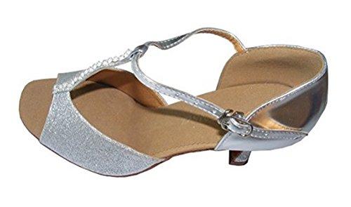 Pobofashion Damenschuhe mit dünnem T-Riemen und glitzernden Silberperlen für lateinamerikanische Tänze (EU37, Silber)
