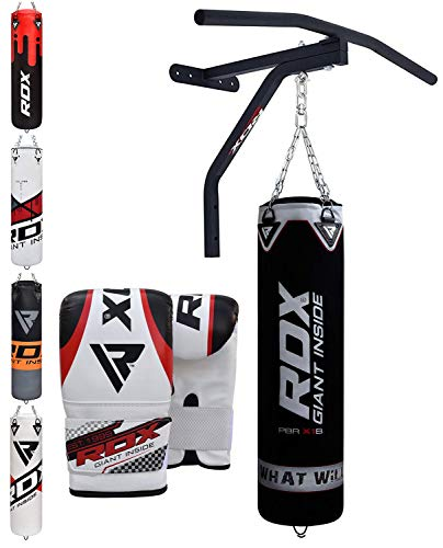 RDX Boxsack Set Gefüllt Kickboxen MMA Muay Thai Boxen wandhalterung mit klimmzugstange Stahlkette Training Handschuhe Kampfsport Schwer Punchingsack Gewicht 5FT (MEHRWEG) -