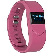 Tongshi Para mujer para hombre de goma Reloj LED El oxígeno arterial La presión arterial pulsera ritmo cardíaco del deporte de fitness Salud (Rosa caliente)