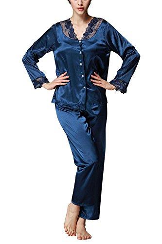 TT Global Femme Vêtement de Nuit, Femme Ensemble Pyjama satin Chemises de Nuit pyjama long Pyjama Bleu avec Manches Longues - 2 pièces