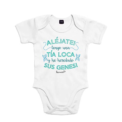 SUPERMOLON Body bebé algodón tía loca 3 meses Blanco Manga corta